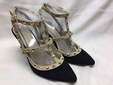 Bamboo Suede High Heels With Metal Studs Black/Beige Size 7.5
