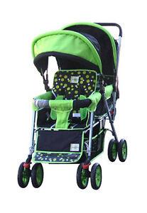 DOUBLE Stroller GREEN  Baby Strollers BEBELOVE 2 Seats Multiple Multi Twin Child
