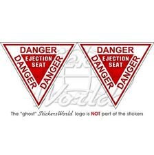 DANGER Ejection Seat RAF USAF NATO Aircraft Martin Baker 90mm Stickers Decals x2