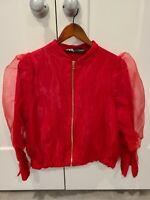 NWT ZARA Women's S Red ORGANZA BOMBER JACKET Zipper Medium SOLD OUT
