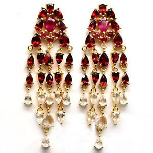 NATURAL RED RUBY, GARNET & TOPAZ LONG EARRINGS 925 STERLING SILVER