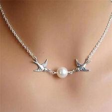 Versilbert Schlüsselbein Kette Halskette Paare Vögel Perle Frauen Halskette Sa