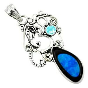 14.39cts Natural Blue Doublet Opal In Onyx 925 Silver Elephant Pendant P53757