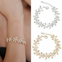 Fashion Women Elegant Flower Rhinestone Cuff Bracelet Chain Bangle Charm Jewelry