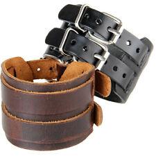 2 Layer Men Bracelet Wristband Soft Leather Cuff Bangle Punk Black/Brown US