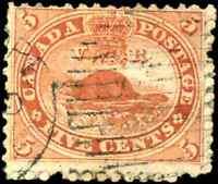 Canada #15 used F 1859 First Cents 5c vermilion Beaver Duplex cancel CV$20.00