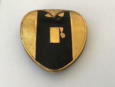 New listing Deco Heart Goldtone Compact Rouge & Powder