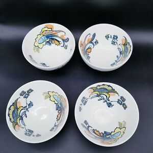 Set Of 4 Anthropologie Cereal Bowls Floral Paisley Design Navy, Teal, and Coral