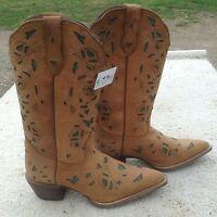 Women's 6.5 Laredo Crazy Horse cut out Western/ Cowboy Boots w/brn w/green inlay