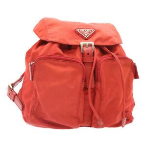 PRADA Backpack Nylon Red Auth yk2756
