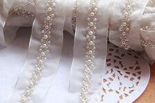 ivory pearl beaded lace trim bridal wedding lace trim