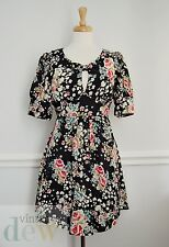 1940's tea dress MONSOON FUSION size 10 vintage key hole neckline BOW WW2