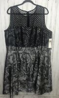 Muse Size 24W  Dress Black and Gray Sleeveless Lined NWT Lined Party Holiday