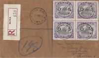 PNG733) Papua 1931-32 Lakatois optd 'OS' 9d block of 4  on 1934 OHMS