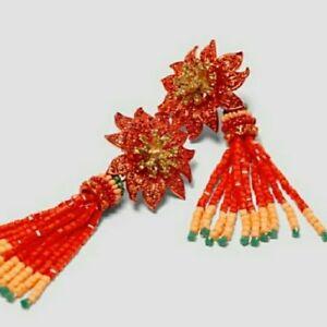 NWT ZARA EXTRA LARGE RED GOLD FLOWER Floral TASSEL DRESS RUNWAY EARRINGS