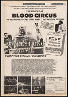 BLOOD CIRCUS__Original 1985 Trade AD / poster__OX BAKER__Sci-Fi wrestling movie