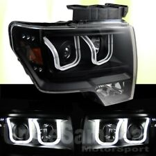 09-13 FORD F150 WHITE DUAL LED HALO FLOAT BAR PROJECTOR BLACK HEADLIGHTS PAIR