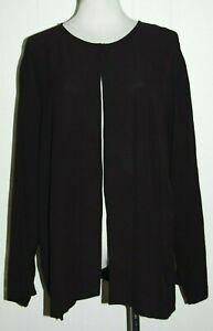 Eileen Fisher Woman Silk Wool Brown Single Button Long Sleeve Cardigan Jacket 2X