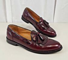 Cole Haan Mens Leather Loafer Dress Shoes 10 B Narrow Loafers Red Tassel Slip On