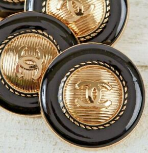 Chanel Buttons 2pc CC Gold & Black 25mm Vintage Style 2 Buttons unstamped AUTH!!