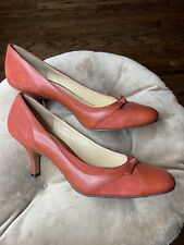 Ann Taylor Womens' Shoes Orange Suede / Leather Kitten Heel Pumps Sz 10