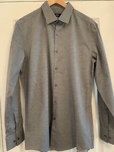 Boss Hugo Boss Mens Shirt Grey with Spot Pattern Slim Fit Size 42 BNNT
