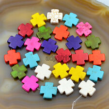15mm Howlite Turquoise Cross Loose Spacer Beads 16