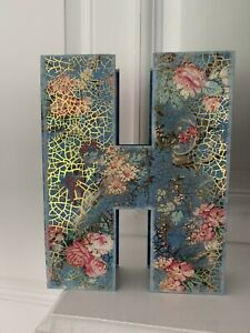 "Punch Studio 11"" ""H"" Alphabet Letter Floral Box Decorative, Storage, Gift NEW"