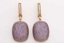 Turkish Handmade Jewelry Round Cut Amethyst Zircon 925 Sterling Silver Earrings