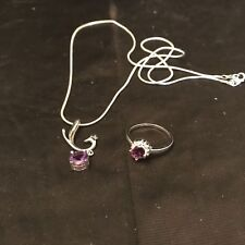 Synthetic Purple Amethyst Necklace & Ring Settings & Chain Are Silver