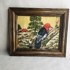 Framed Vintage Woodpecker 8X10 Tapestry  Barn Pink Flowers Colorful