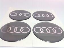4 x 65mm Autocollants emblemes AudiLogo pour Centre de Roue cache moyeux enjoliveurs de voiture gris argent/é