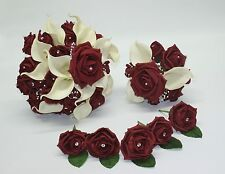 Wedding Bouquet, Posy and Buttonholes Bundle with Burgundy Roses & ivory lillies