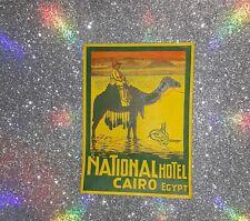 Vintage National Hotel Luggage Label Cairo Egypt