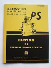 Instruction Manual & Spare Parts List for Ruston 6PS