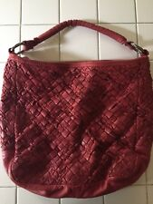 4d35c982a8f8 Tano Woven Oxblood Red Leather Hobo Tote Purse Unique Textured