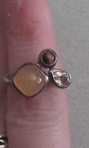 Silver 925 tigers eye, citrine & yellow amber band ring sz O