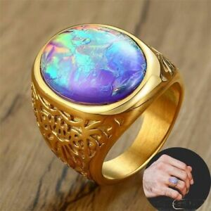 Big Opal Rings Stunning Golden Tigers Eye Oval Stone Stainless Steel Jewelleries