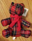 Stuffed Bear Red Tartan Pattern 10x7 inches 689939 713