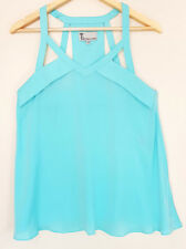 T by BETTINA LIANO Light Aqua Blue Open Strappy Shoulder Summer Top Size 10
