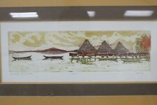 """Andre Artist Signed """"Anchored Off the Pier"""" Numbered Print 13.5"""" x 4"""" Framed"""