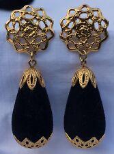 """2.25"""" Mod Glam Chunky Black Velvet Flocked Teardrop Dangle Gold Tone Earrings"""