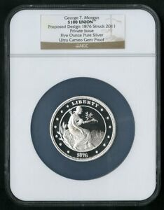 US Coin 1876 George T Morgan $100 Union 5oz Silver NGC NO RESERVE!