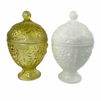 Vintage Avon 1 Amber 1 Milk Glass Apothocary Trinket Pedestal Candy Jars Pair