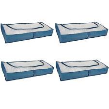 4 Stück Unterbettkommode Unterbett Kommode Box atmungsaktive Aufbewahrung BLAU