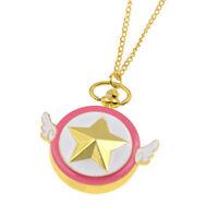 Sakura Kinomoto Anime Star Pocket Watch Card Captor Wings Necklace Chain Watch