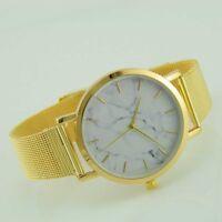 New Women Watches Hot Thin Movement Marble Wrist Quartz Stainless Steel Watch