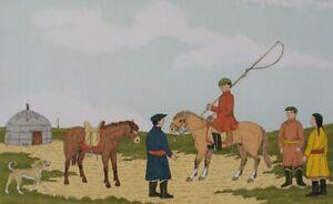 HADDELSEY Vincent : Cavaliers en Mongolie LITHOGRAPHIE Originale signée #50ex