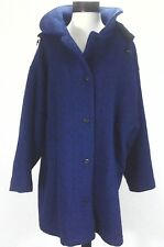 WOOLRICH Wool Coat Hood Vintage Jacket Blue w Black Speckled Button Up Womens XL