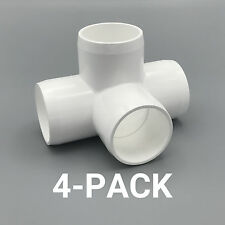"1-1/2"" inch 4-Way Tee PVC Fitting Connector Elbow - 4-Pack - PB1504W-4P"